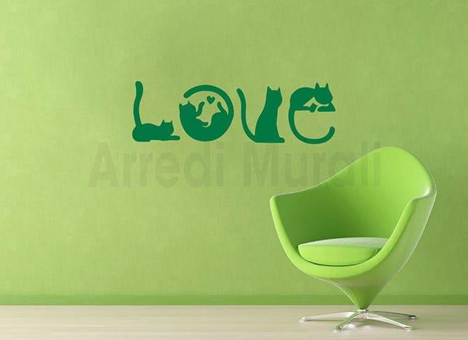 adesivi murali gatti che cmpongono la parola love