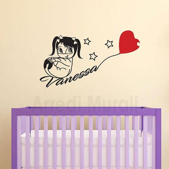 adesivi murali bambina nome personalizzato per cameretta