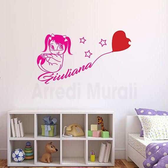 adesivi murali bambina nome personalizzato per cameretta fucsia