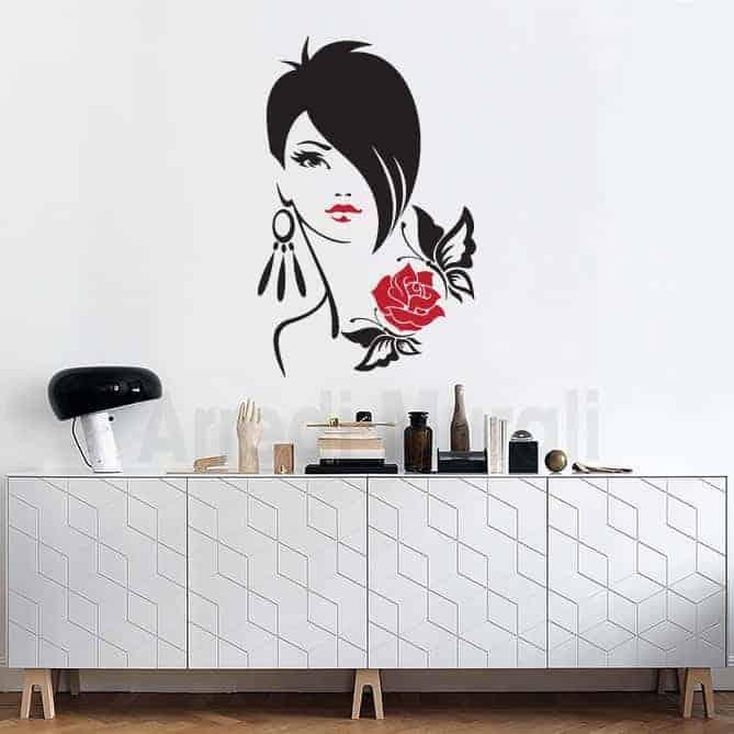 decorazioni murali negozi viso donna adesivi murali