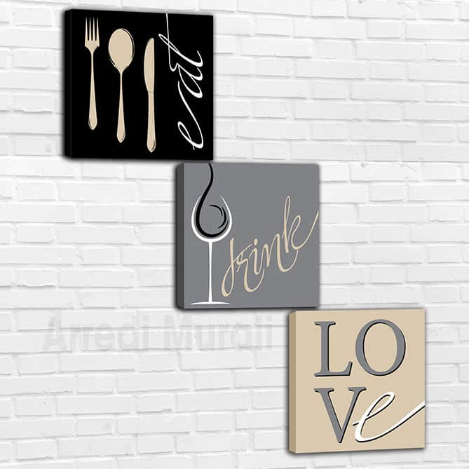 quadri moderni cucina o ristorante 3 tele