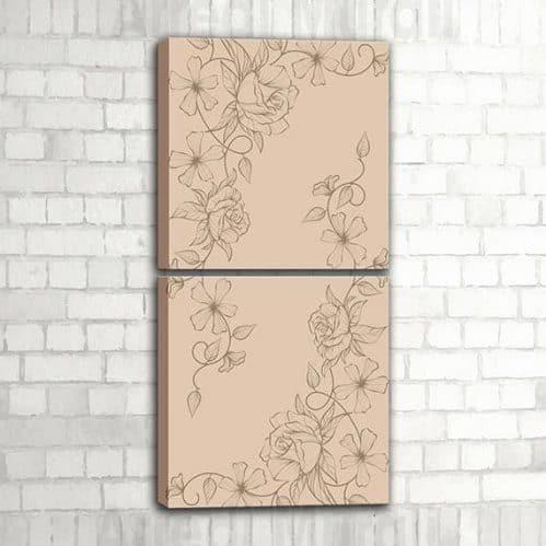 quadri verticali moderni floreali per decorare la parete