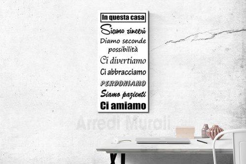 quadro con frase in stampa su tela per arredare le pareti