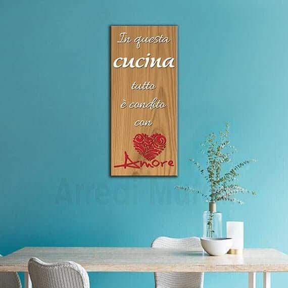 quadro frase cucina effetto legno con scritte dedicate a chi ama cucinare