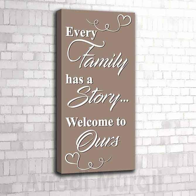 quadro moderno frase famiglia con stampa su tela