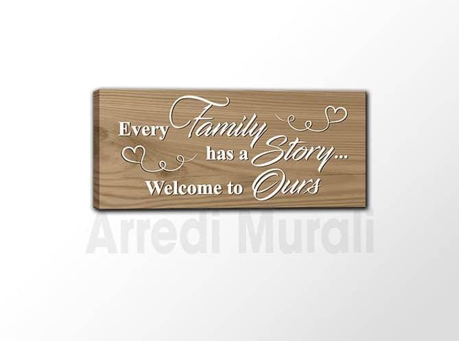 quadro frase famiglia stampa su tela effetto legno