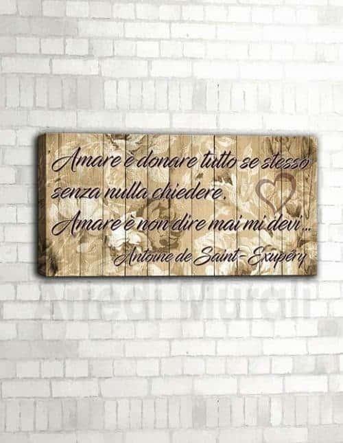 Quadro moderno frase d'amore di Antoine de Saint-Exupéry