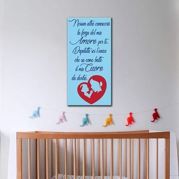 quadro frase cameretta con dedica di una mamma al proprio bimbo