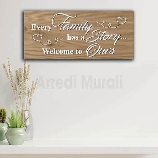 Quadro frase famiglia in inglese , stampa su tela effetto legno