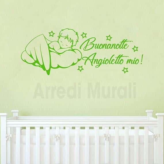 adesivi da parete camerette neonati angioletto su nuvola verde