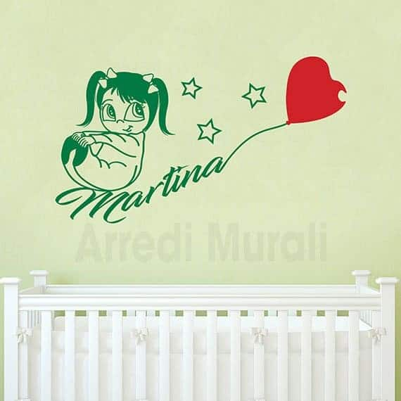 adesivi murali bambina nome personalizzato verde