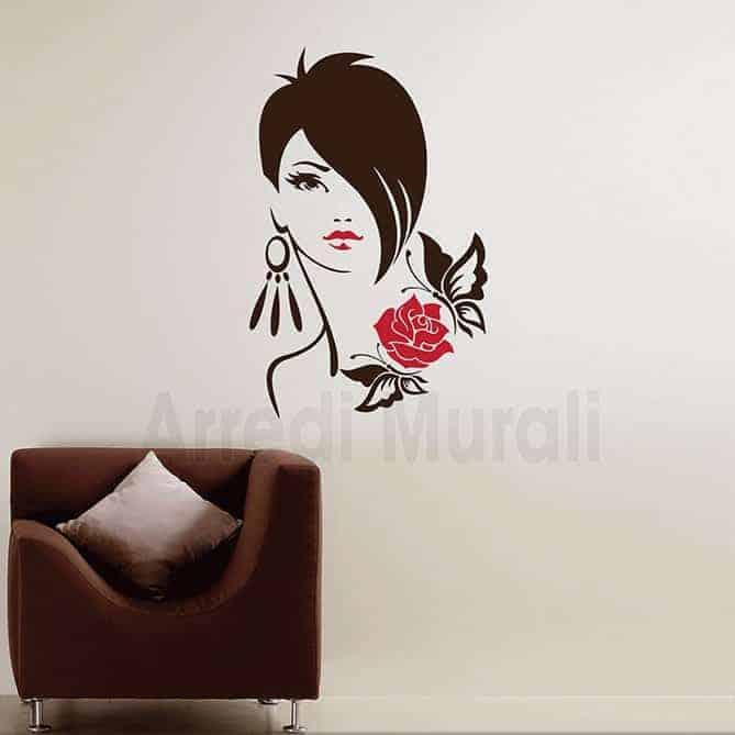 decorazioni adesive viso donna adesivi murali arredo negozio o casa