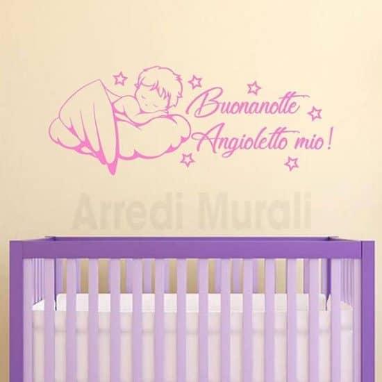 adesivi da parete cameretta neonato angioletto su nuvola rosa