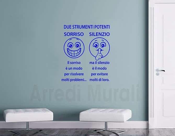 adesivi murali smile con emoticon e frasi adesive da parete