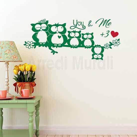 adesivi murali famiglia con 5 gufi su ramo