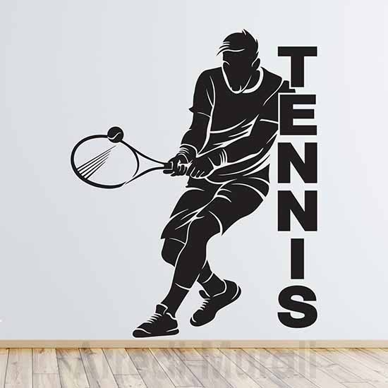 Adesivi murali tennis silhouette di giocatore con racchetta e pallina e scritta adesiva tennis colore nero