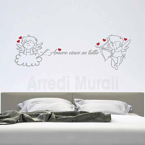 decorazioni adesive per testata letto con adesivi murali frase d'amore e 2 angeli