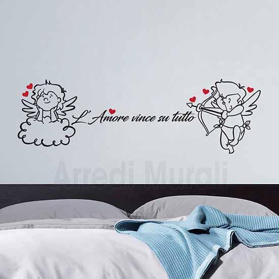 decorazioni adesive per testata letto adesivi murali frase d'amore e angeli