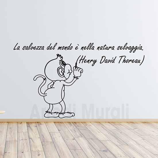 frase adesiva da parete con citazione di Thoreau