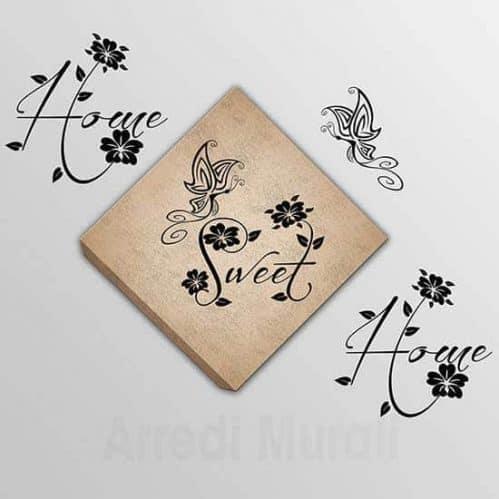 Quadro su tela e scritte adesive Home