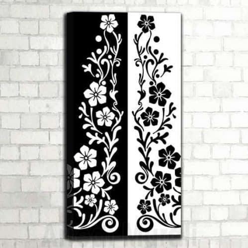quadro bianco e nero floreale verticale arredo moderno