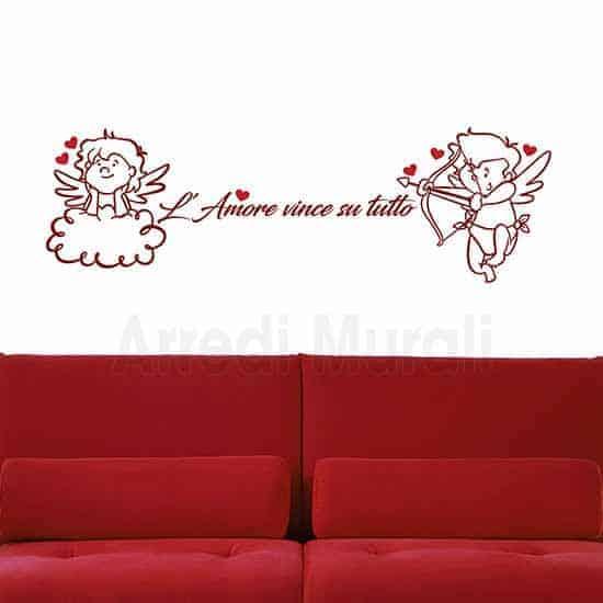 adesivi murali frase d'amore e angeli con cuori rossi