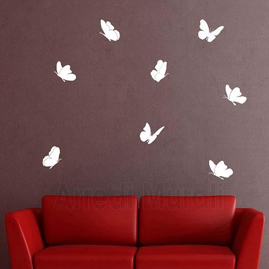 Stickers da parete 8 farfalle adesive da attaccare a piacimento