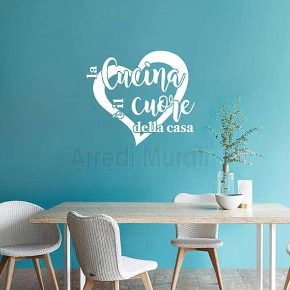 """Scritte adesive per cucina con frase """"la cucina è il cuore della casa"""" bianco"""