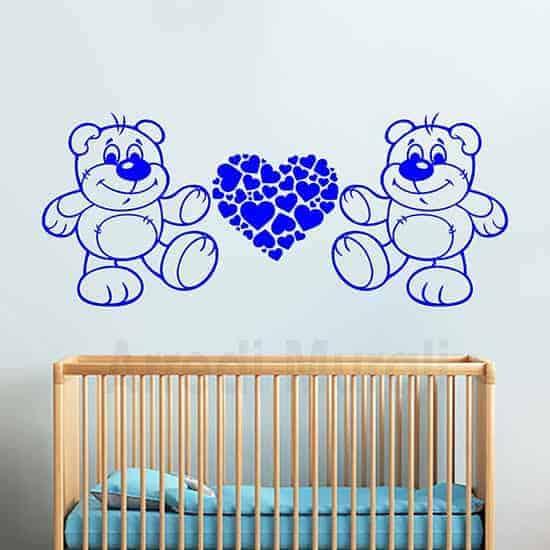 adesivi murali orsetti e cuore formato da tanti cuoricini da applicare nelle camerette dei bambini
