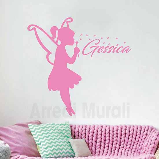 adesivi murali cameretta bimba personalizzato rosa