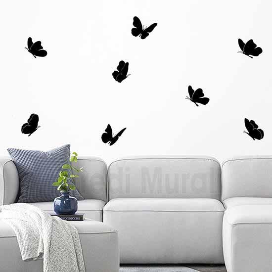stickers da parete 8 farfalle adesive nere