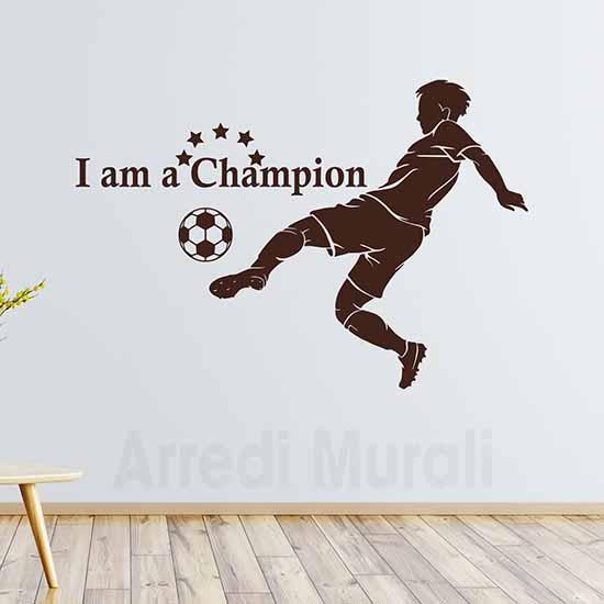 adesivi murali calcio con calciatore adesivo e scritta adesiva