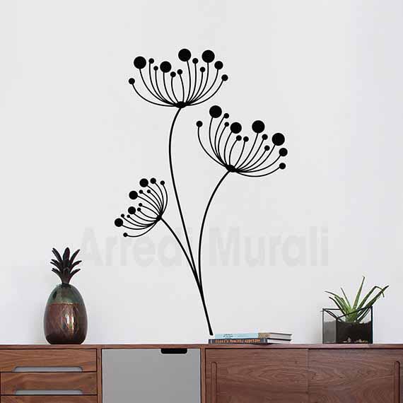 wall stickers fiori disegni adesivi floreali nero