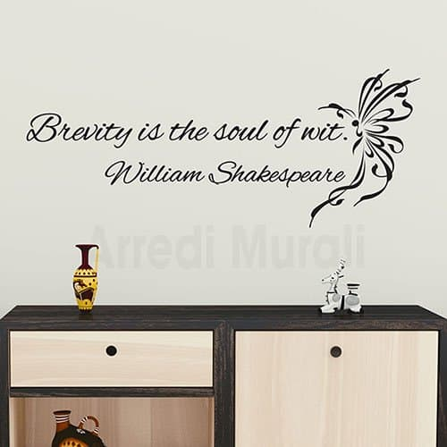 Adesivi murali frase Shakespeare decorazioni da parete nero