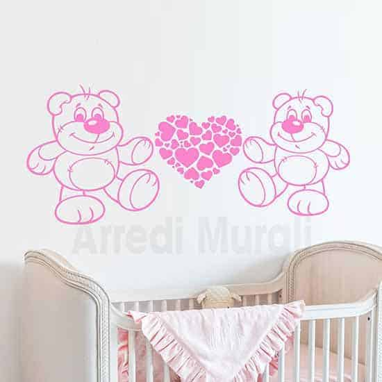adesivi murali orsetti e cuori per la cameretta dei bambini colore rosa