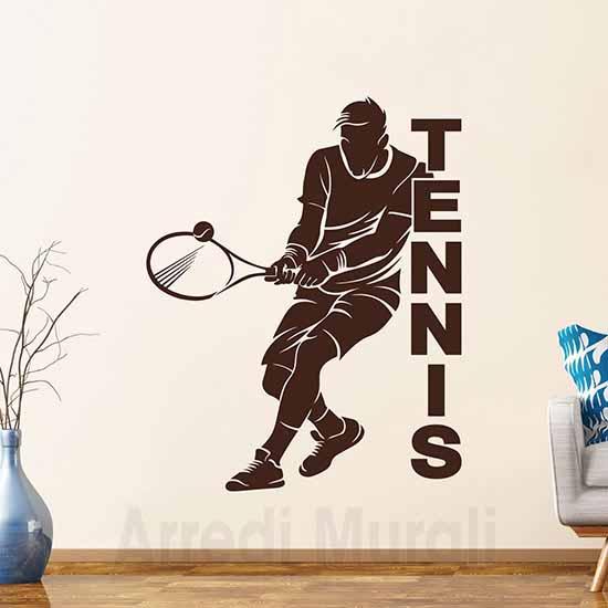 Adesivi murali tennis silhouette di giocatore con racchetta e pallina e scritta adesiva tennis