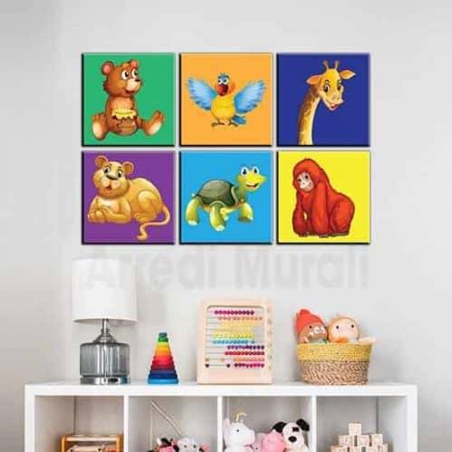 Quadri per bambini 6 tele colorate con animaletti per arredare la cameretta