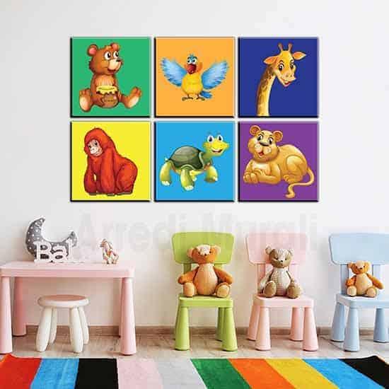 quadri bambini 6 quadri con animaletti per arredo cameretta