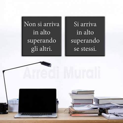 quadri moderni frase motivazionale 2 tele da 50x50 che compongono una frase significativa