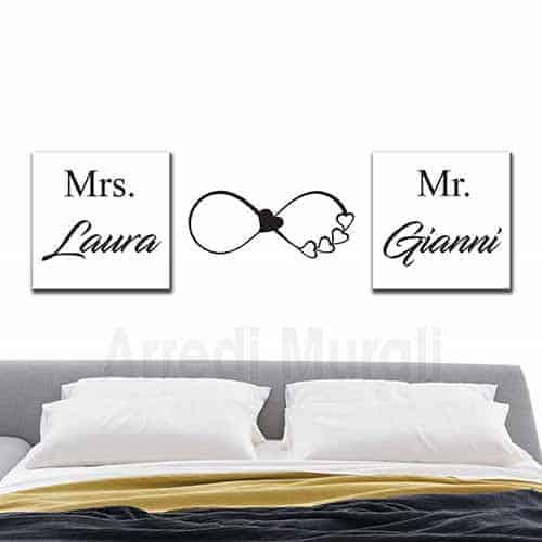 decorazioni testata letto con 2 quadri personalizzati e uno sticker murale