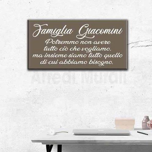 quadro famiglia personalizzato con cognome e frase