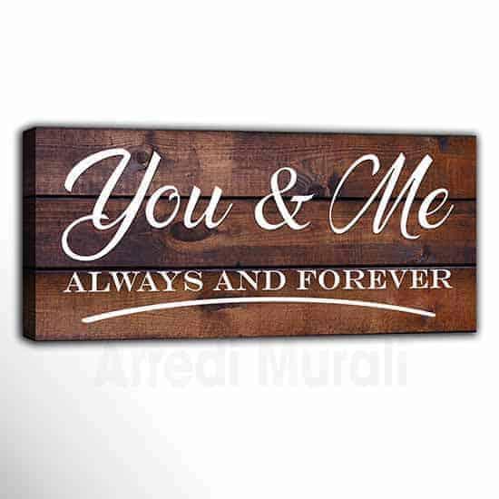 quadro moderno con scritte You and Me effetto legno