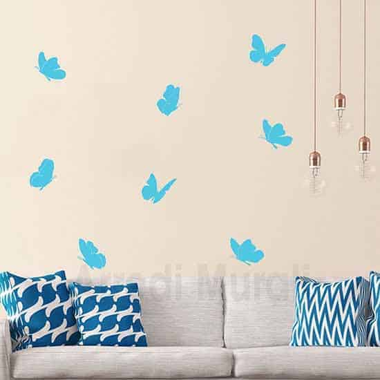 sticker da parete 8 farfalle adesive azzurre