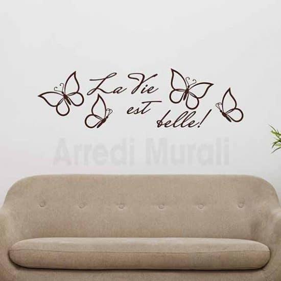 """Adesivi da parete con scritte """"la vie est belle"""" e farfalle adesive marrone"""
