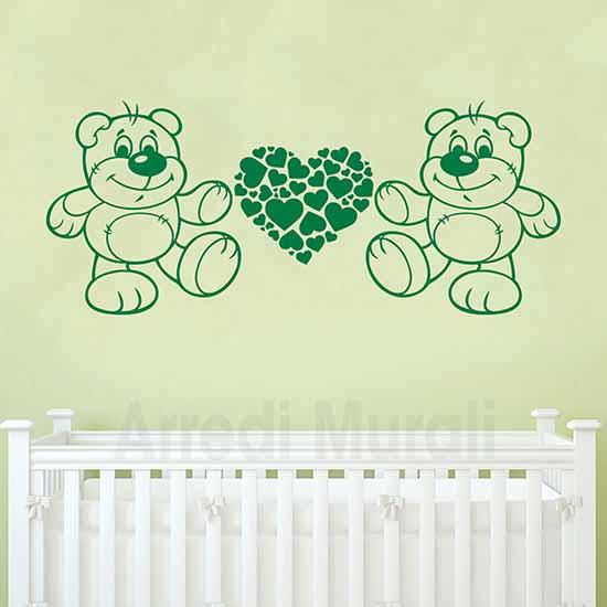 Adesivi murali orsetti e cuoricini per arredare la cameretta dei bimbi