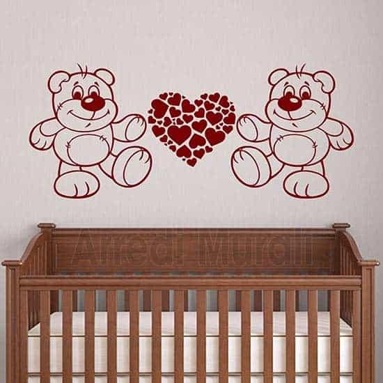 adesivi murali orsetti e cuori per la cameretta dei bambini colore rosso