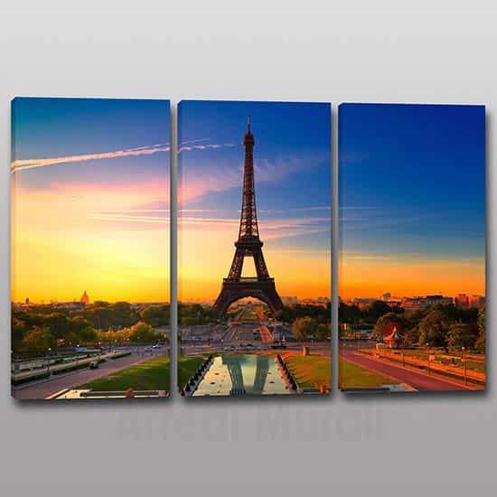 quadri moderni Torre Eiffel 3 tele con paesaggio Parigi