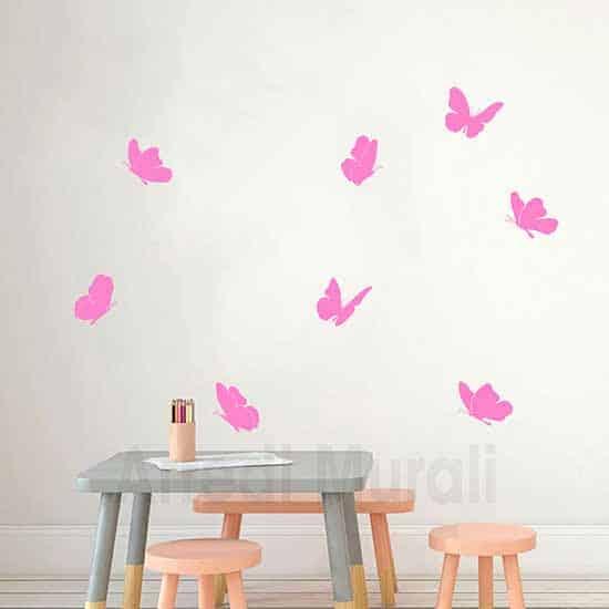 stickers da parete 8 farfalle adesive rosa