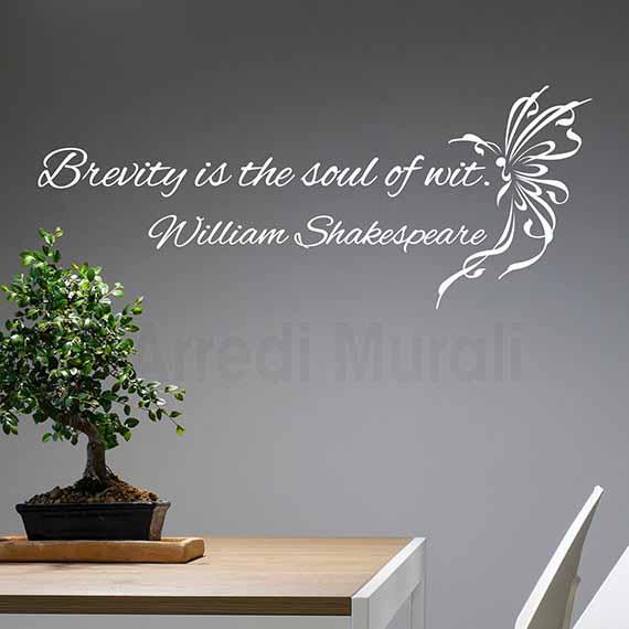 Adesivi murali frase Shakespeare decorazioni da parete bianco