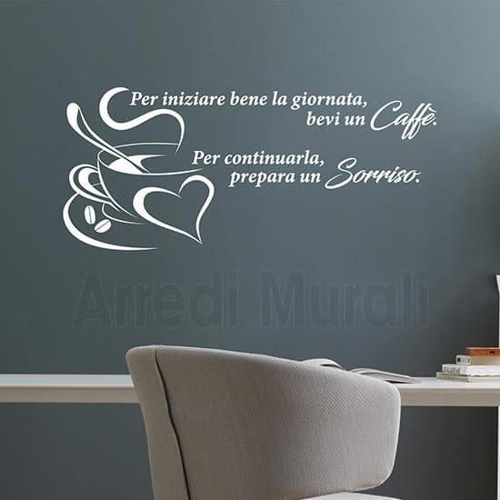 Adesivi murali frase caffè colore bianco